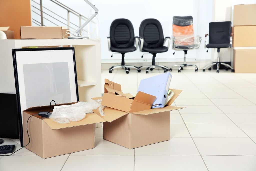 moving boxes in office