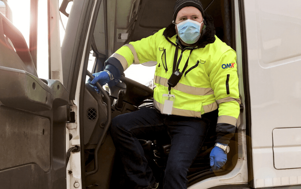 truck driver wearing mask