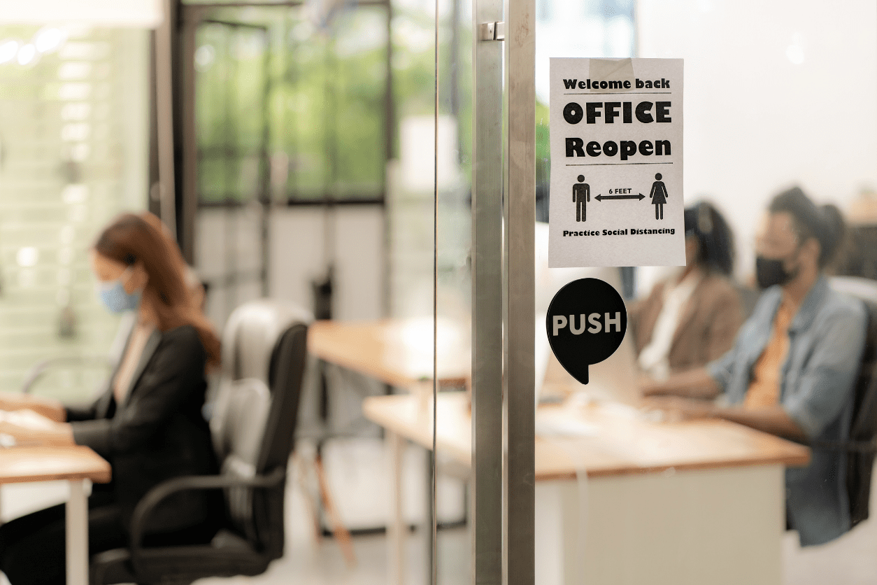 welcome back to office sign